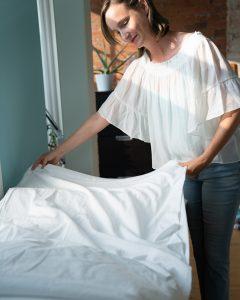 Megan setting up bed